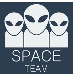 alien team on blue background vector image