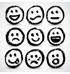 An icon set grunge cartoon smiley faces vector
