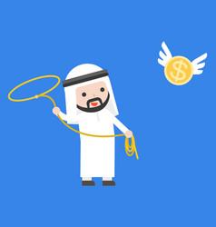 arab businessman using lasso noose catching vector image