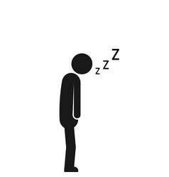 Asleep on the move sleeping man vector