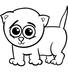 baby kitten cartoon coloring page vector image