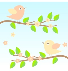 background with birds on brunches vector image