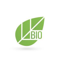 bio product eco organic leaf emblem sticker or vector image