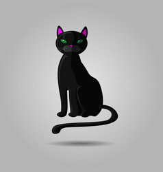 black cat with green eyes isolated on gray vector image