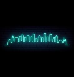 blue neon skyline vancouver city bright vector image