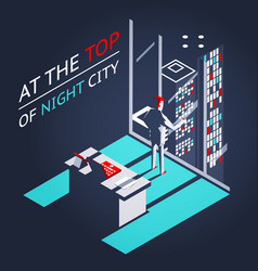 Businessman top night city penthouse office vector
