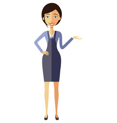 Businesswoman lady presents something vector