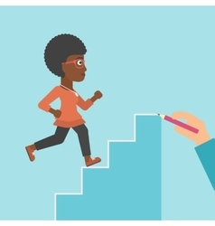 Businesswoman running upstairs vector