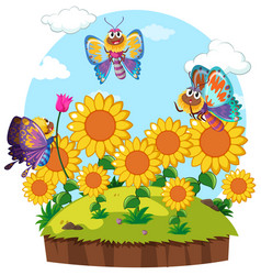 butterflies flying around flower garden vector image vector image