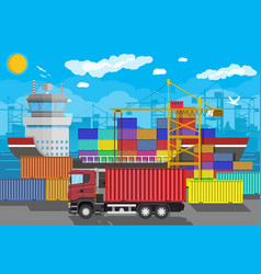 cargo ship container crane truck port logistics vector image