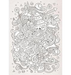 Cartoon doodles New Year sketch background vector image