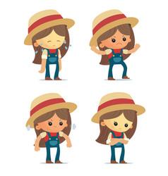 Cartoon farm girls vector