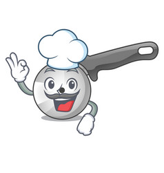 Chef character pizza cutter with handle cartoon vector