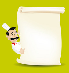 Chef menu holding a parchment menu vector