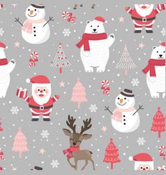 Christmas seamless pattern with santa and polar vector