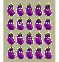 cute cartoon eggplant smile with many expressions vector image