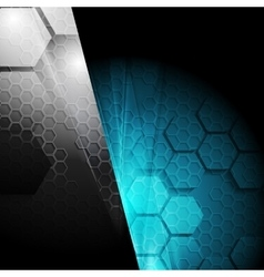 Dark contrast tech geometric background vector image