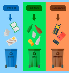 Different recycling garbage cards waste types vector