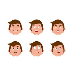 Emotions man set expressions avatar people vector