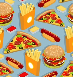 Fast food seamless pattern Hot dog background vector image