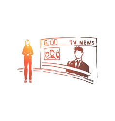 Female anchorman newscaster profession vector