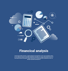 financial analysis template web banner with copy vector image