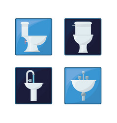 flat set icon bathroom design vector image