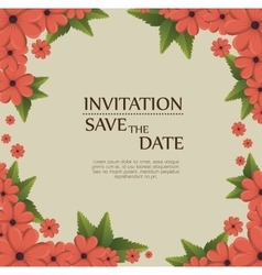 Floral invitation save the date vector