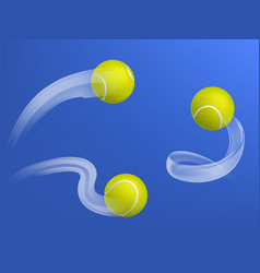 flying tennis balls 3d realistic collection vector image