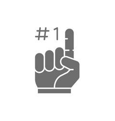 foam finger fans glove grey icon vector image