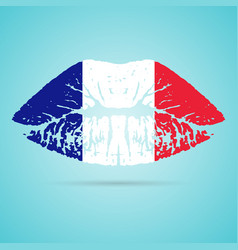 france flag lipstick on the lips isolated on a vector image