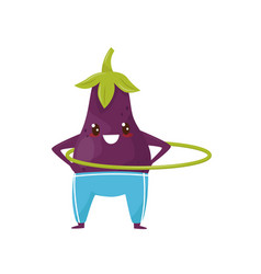 Funny eggplant spinning the hula hoop sportive vector