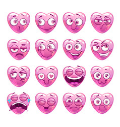 Funny pink heart emoji icons set vector