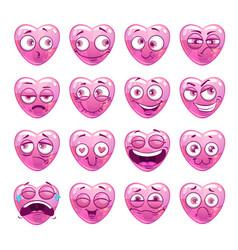 funny pink heart emoji icons set vector image