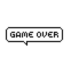 Game over pixel bubble speech vector