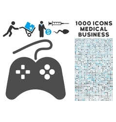 Gamepad Icon with 1000 Medical Business Symbols vector image