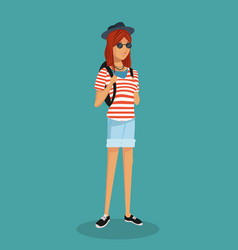 Girl hipster teen stripes tshirt sunglasses vector