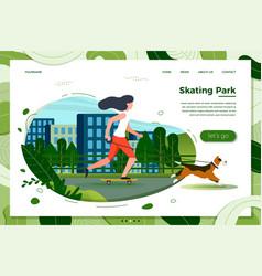 Girl with dog skate in park vector