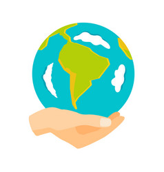 globe earth in hand icon vector image