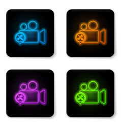 glowing neon video camera with screwdriver and vector image