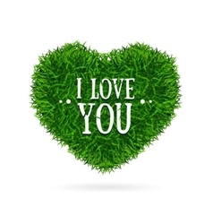 Grass Banner Heart Love You Valentine Concept Card vector image