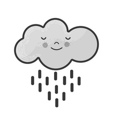 Grayscale kawaii tranquil cloud raining icon vector