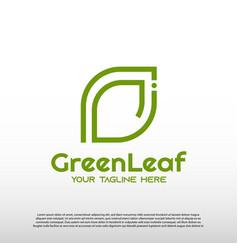 Green leaf logo with line art design eco organic vector