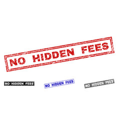 Grunge no hidden fees scratched rectangle vector