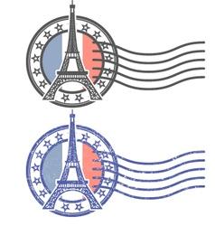 Grunge stamp with Eiffel Tower - landmark of Paris vector image