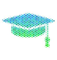 Halftone blue-green graduation cap icon vector
