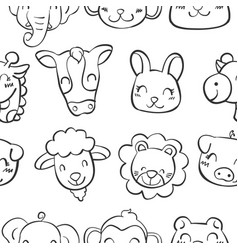 Hand draw of animal head doodles vector