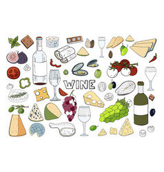 hand drawn set with wine different cheese grape vector image