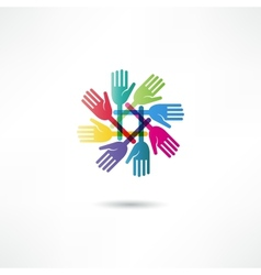 hands connecting icon vector image