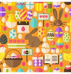 Happy Easter Flat Design Orange Seamless Pattern vector
